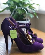 Fiore Matalan Deep Purple Heels Shoes Ruffle Design T Bar Strap Size 4 EUR 37