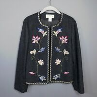 Orvis Embroidered Open Front Lined Wool Blazer Jacket Women's Size 6