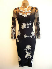 """Phase Eight- Stunning Navy Blue """"Fifi"""" Stretch Lace Cocktail Dress Size 14 12"""