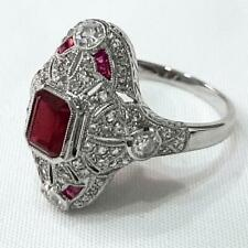 Platinum 1.65ctw Ruby & Old European Cut H-SI Diamond Navette Ring Size 7 6g