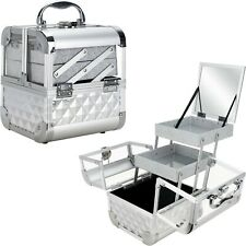 Armored Acrylic Cosmetic Makeup Artist Train Case Organizer 2 Trays and Mirror