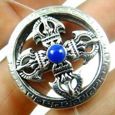 Retro Style Tibetan Silver Cross pestle  Pendant & necklace  B17