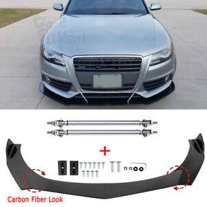 For AUDI A3 A4 A6 RS5 RS6 RS7 S3 S4 TT Carbon Fiber Front Bumper Lip +Strut Rods