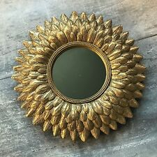 Gold Feather Starburst Mirror, Small Round Wall Mounted Hanging, Vintage Style