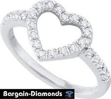 Diamond Heart 10k White Gold Ring love promise .20 carats