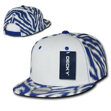 Royal Blue / White Zebra Animal Print Vintage Snapback Classic Flat Bill Hat Cap