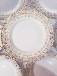 Vintage KPM gold swag reticulated porcelain Plates and footed tazza Germany
