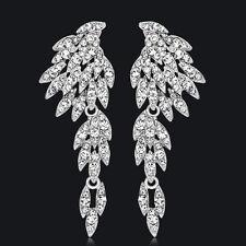Elegant Rhinestones Wing Dangle Drop Pierced Earrings Women Wedding Jewelry Hot