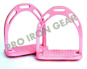 """POLYMER STIRRUPS HORSE RIDING ALL PINK COLOR AMIDALE SPORTS 4.00/"""" /& 4.75/"""" BNWT"""