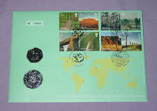 2005 UK & AUSTRALIA 50P & 50 CENTS COIN STAMP COVER - World Heritage Sites