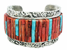 Clinton Pete, Bracelet, Inlay, Turquoise, Red Spiny Oyster, Navajo Made, 6.5 in