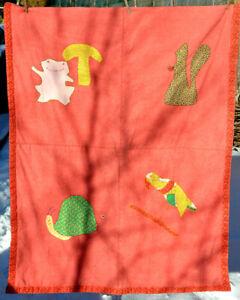 Animal Baby Quilt vtg 60s Weird Frog Squirrel Folk Outsider Art 53x42 Parrot Lap