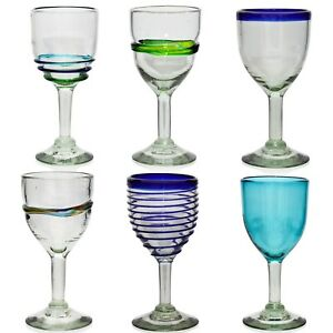Wine Glass, Hand Blown from Recycled Glass - Ethically Sourced from Mexico