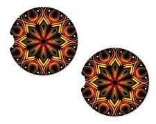 Mandala Sun Rubber Car Coasters For Drinks Absorbent Car Cup Holder   SET OF 2