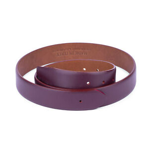 Burgundy Belt Strap Without Buckle For Ferragamo Buckle Replacement Real Leather