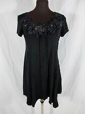 Karen Kane Rayon Blend Black Cap Sleeve Long Top Short Dress L