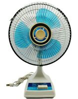 "Montgomery Ward 12"" Oscillating 3 Speed Fan 80s COOL Blue Blades WORKS SEE VIDEO"