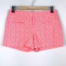 Gap Womens Size 00 Shorts Neon Pink Jacquard Flat Front Mid-Rise Geometric