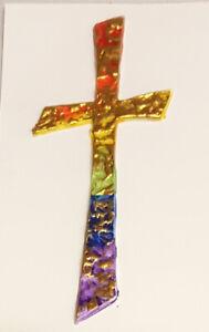 """Wachsdekor """"Kreuz mit Wellen"""" regenbogen gold Verzierwachs Kerzen gestalten"""
