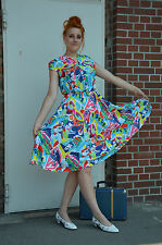 Bernard Nevill Pop Art Dress Kbc Ladies Fashion Elvis Summer Dress True Vintage .
