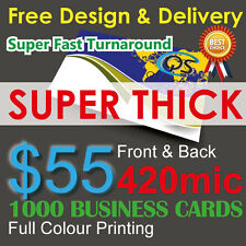 1000 Business Cards Colour Printing 2-sided on 420mic Thick Paper FreeDesign