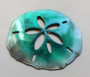 Sand Dollar Tropical Metal Wall Art Accents Teal Tinged