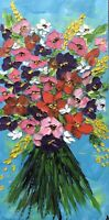 ORIGINAL Oil Painting Stretch Canvas 10x20 Palette Knife Flowers Art by Angela