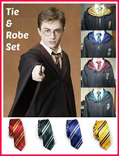 Harry Potter Gryffindor Slytherin Ravenclaw Hufflepuff Robe & Tie Costume Set