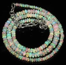 """35 Carat 17"""" 2 to 5 mm Natural Ethiopian Welo Fire Opal Beads Necklace -EB8074"""