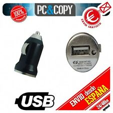 Cargador negro mini mechero coche USB 1A para movil tablet car 12-24v 1000mA