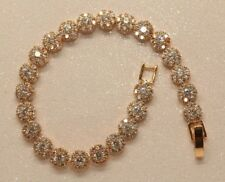 1ct Round Flower Diamond Tennis Bracelet in 14K Yellow Gold Finish 0.5 Carat