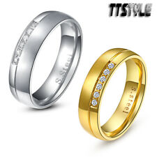 TTstyle 6mm Stainless Steel Half Brushed Stripe Eternity Wedding Band Ring