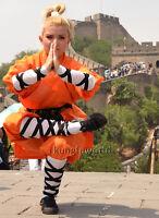 Kids Adults Orange Cotton Shaolin Robe Kung fu Uniform Halloween Costumes
