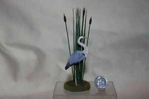 Miniature Dollhouse Barbara Ann Meyer Heron Shore Bird w Cattails 1:12 NR