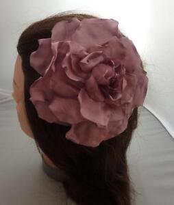Beautiful Boho Oversized Dusky Pink Rose Shabby Chic FlowerClip Corsage on Hair