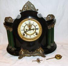 New ListingAnsonia Open Escapement 6 Column Black Iron Mantle Clock Working