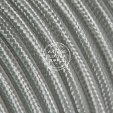 25ft Platinum Cloth Covered Electrical Wire - Braided Rayon Fabric Wire