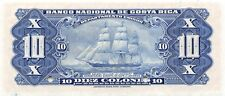 Costa Rica  10 Colones  ND. 1942  P 210s  Series  G  Uncirculated Banknote