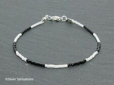 Slim Black & White Seed Bead Boho/Gypsy Stacking Friendship Bracelet Gift