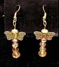 Brass Angel Wing & Yellow Crystal Dangle Earrings,Gold Plated Fish Hook Findings