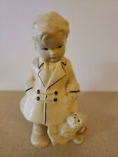 Antique 1930s Coventry Ware Challware Little Boy And Puppy Figurine