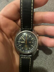 Vintage Seiko Automatic Chronograph Day/Date Mens Black Dial Watch 6139-6012