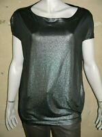 DDP Taille L - 40 Superbe haut top tee shirt manches courtes argenté femme T-shi