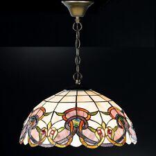 Honsel Tiffany Pendelleuchte Verde 3-flg Altmessing Glas Champ Braun ø 45 cm NEU