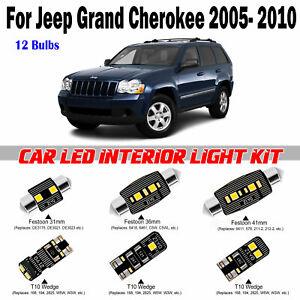 12 Bulbs Deluxe White LED Interior Map Light Kit Jeep Grand Cherokee 2005-2010