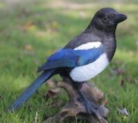 MAGPIE ON STUMP BIRD ADORABLE- Realistic Life Like Figurine Statue Home Garden