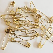 """Gold Safety Pins Size 3 ( 2"""" or 56mm )  Made in USA Pack / 100"""