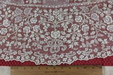 Antique French 19thC Embroidered Floral Lace Piece~Applique On Net c1840-60~Doll