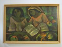 UNSIGNED ROGER SAN MIGUEL PAINTING LARGE FILIPINO LISTED MODERNISM PRETTY WOMEN