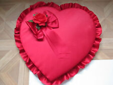 Vintage Collectible Russell Stover 48 OZ Heart Shaped Candy Box Red Satin Ruffle